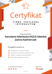 certyfikat firmy net